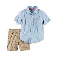 Toddler Boy Carter's Chambray Shirt & Dino Canvas Shorts Set