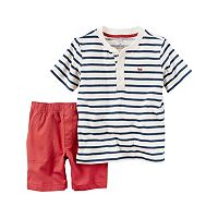Toddler Boy Carter's Striped Henley & Solid Shorts Set