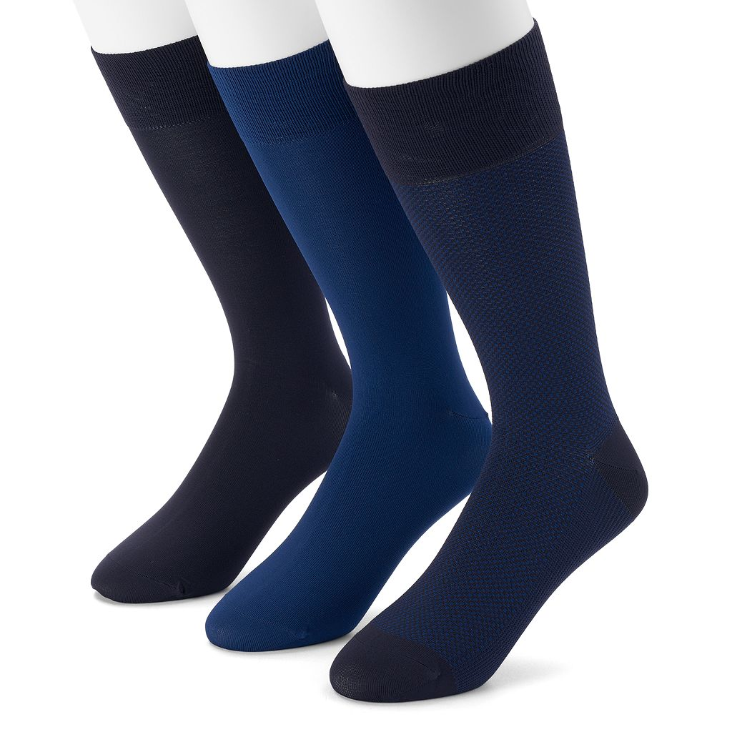 Men's Marc Anthony 3-pack Birdseye Textured Microfiber Dress Socks