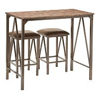 OSP Designs Catalina Bar Table & Counter Stool 3-piece Set