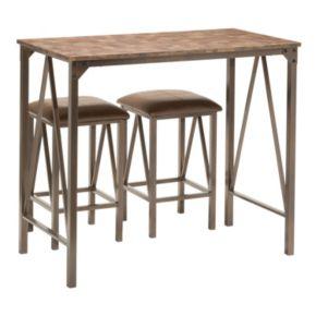 OSP Designs Catalina Bar Table & Counter Stool 3-piece Set