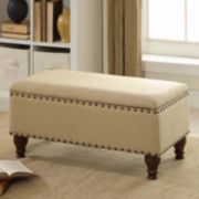 "HomePop 35.5"" Nailhead Storage Bench"