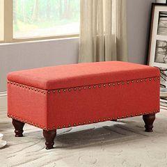 HomePop 35.5' Nailhead Storage Bench