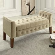 HomePop Tufted Velvet Storage Bench