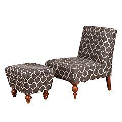 HomePop Lattice Accent Chair & Ottoman 2 pc Set