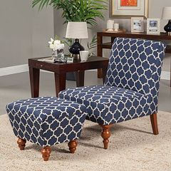 HomePop Lattice Accent Chair & Ottoman 2 pc Set