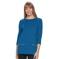 Women's Croft & Barrow® Zippered Crewneck Top