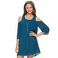 Juniors' Lily Rose Scalloped Cold Shoulder Shift Dress