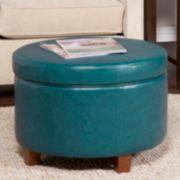 HomePop Large Faux Leatherette Storage Ottoman