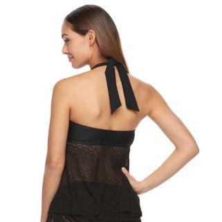 Women's Aqua Couture Crochet Halterkini Top