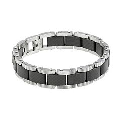 LYNX Men's Carbon Fiber & Stainless Steel Bracelet
