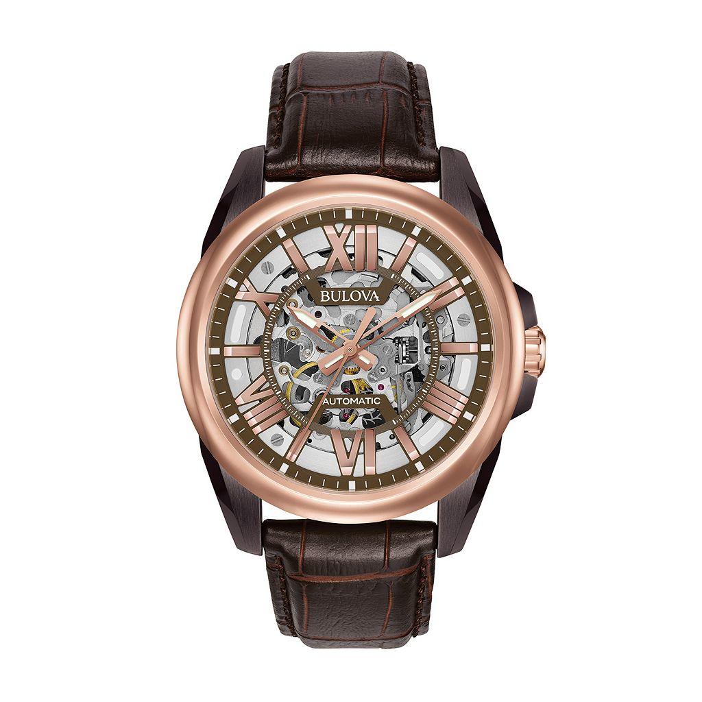 Bulova Men's Leather Automatic Skeleton Watch - 98A165