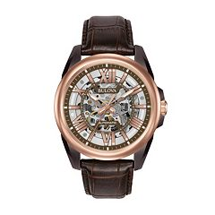 Bulova Men's Leather Automatic Skeleton Watch - 98A165
