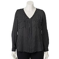 Juniors' Plus Size Candie's® Zip-Neck Roll-Tab Top