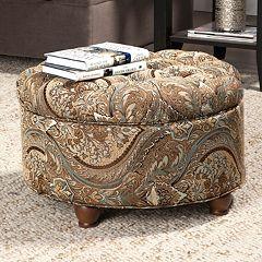 HomePop Button Tufted Round Storage Ottoman