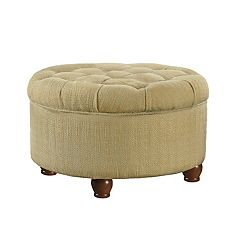 HomePop Button Tufted Round Storage Ottoman