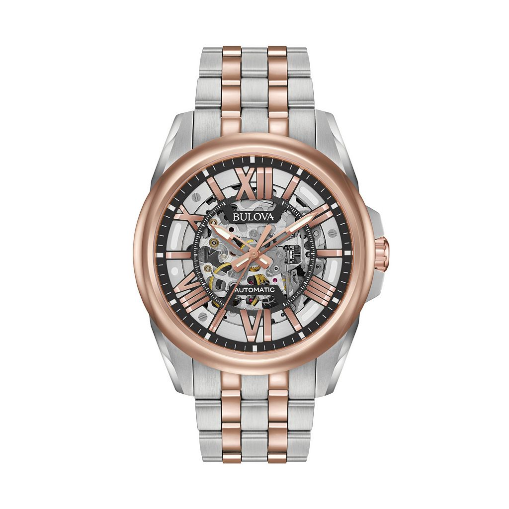 Bulova Men's Two-Tone Stainless Steel Automatic Skeleton Watch - 98A166