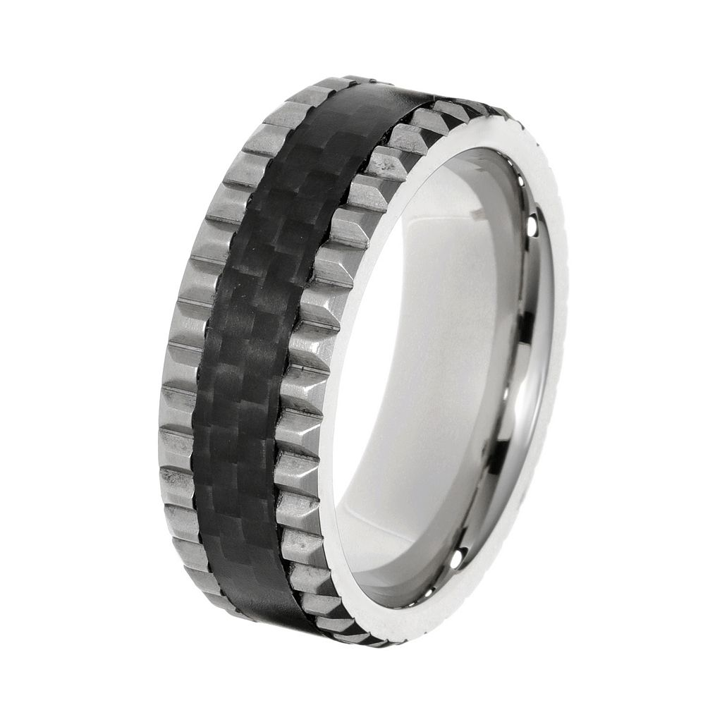 LYNX Men's Grooved Stainless Steel & Carbon Fiber Ring