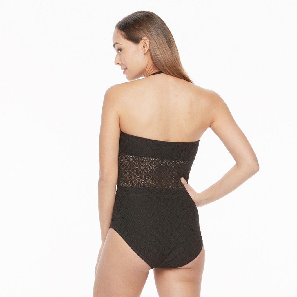 Women's Aqua Couture Crochet One-Piece Swimsuit