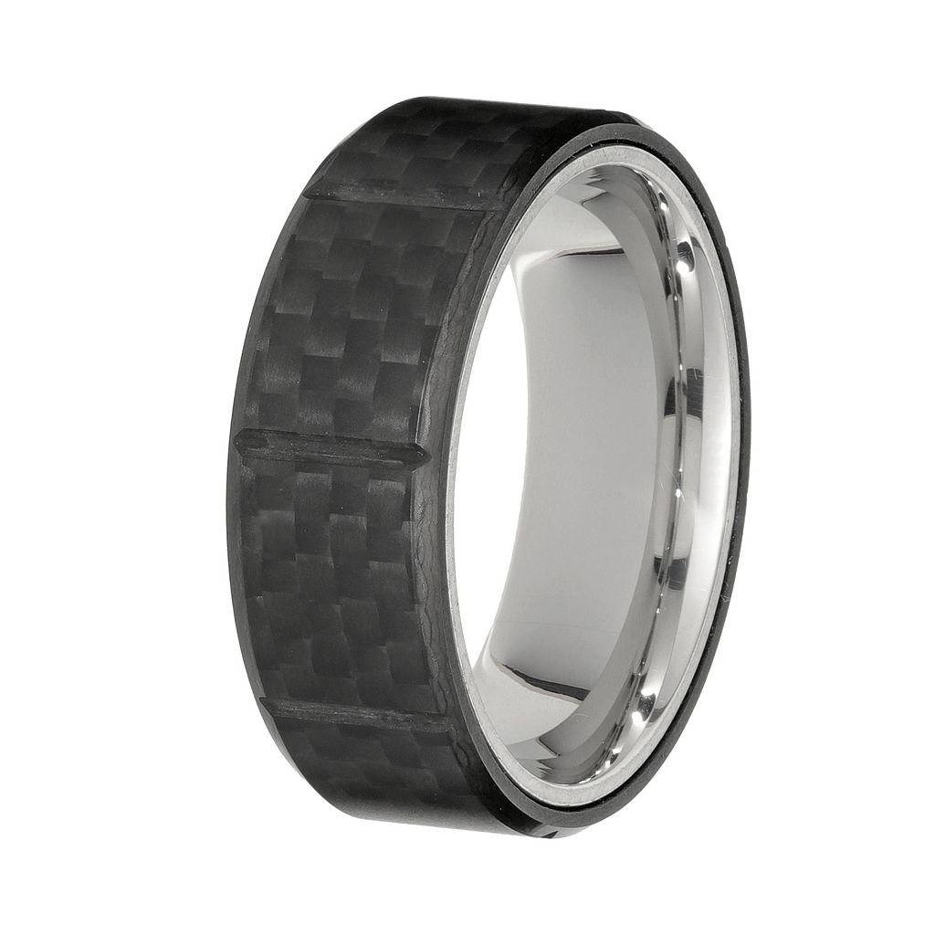 LYNX Men's Stainless Steel & Carbon Fiber Ring