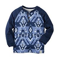 Boys 4-8 Carter's Colorblock Geo-Print Long Sleeve Henley Tee