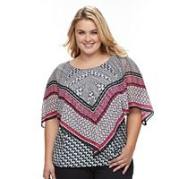 Plus Size AB Studio Printed Asymmetrical Popover Top