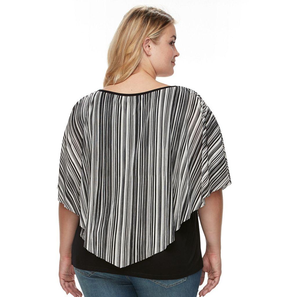 Plus Size AB Studio Striped Asymmetrical Popover Top