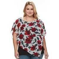 Plus Size AB Studio Floral Popover Necklace Top