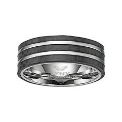 LYNX Men's Striped Stainless Steel & Carbon Fiber Ring