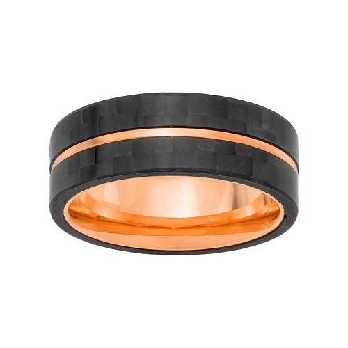 LYNX Men's Single Striped Stainless Steel & Carbon Fiber Ring