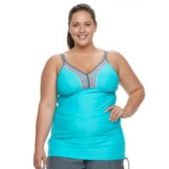 Plus Size Free Country Colorblock Underwire Tankini Top
