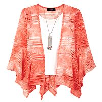 Girls 7-16 IZ Amy Byer Tie-Dye Bell Sleeve Gauze Top with Necklace