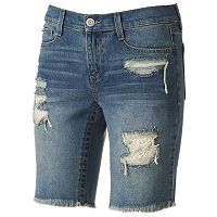 Juniors' Mudd® Crochet Ripped Bermuda Jean Shorts