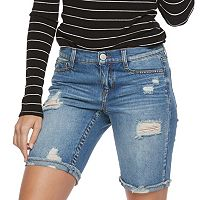 Juniors' Mudd® Ripped Bermuda Jean Shorts