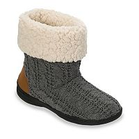 Dearfoams Women's Cable-Knit Memory Foam Bootie Slippers