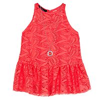 Girls 7-16 IZ Amy Byer Crochet Lace Cut-Away Peplum Top