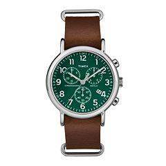 Timex Men's Weekender Chronograph Leather Watch - TW2P97400JT