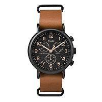 Timex Men's Weekender Chronograph Leather Watch - TW2P97500JT