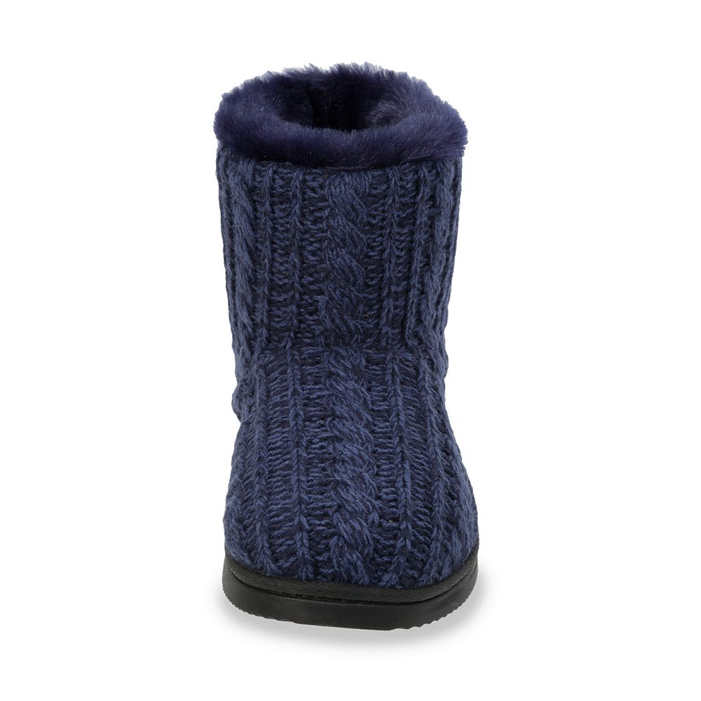 Dearfoams Women's Marled Cable-Knit Memory Foam Bootie Slippers