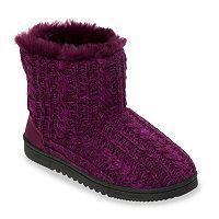 Dearfoams Women's Marled Cable-Knit Memory Foam Bootie Slippers