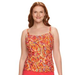 Plus Size Chaps Tummy Slimmer Paisley Bandeaukini Top
