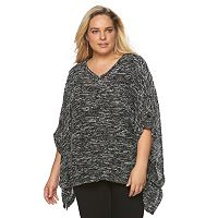 Plus Size French Laundry Textured Poncho with Tabs