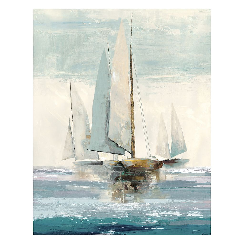 Artissimo Quiet Boats Canvas Wall Art
