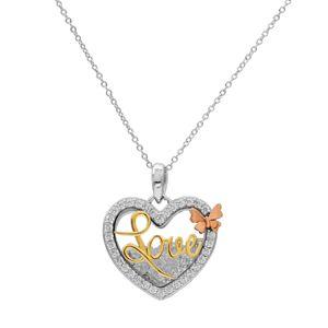 """Hallmark Tri Tone Gold Over Silver """"Love"""" Heart Shaker Pendant Necklace"""