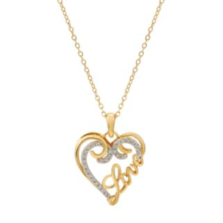 "Hallmark Two Tone Gold Over Silver ""Love"" Heart Pendant Necklace"