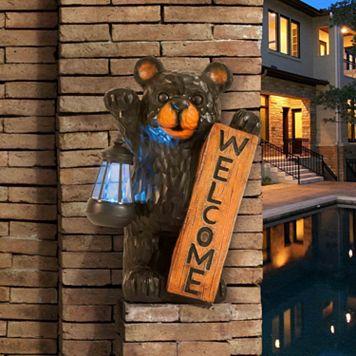 Sunjoy ''Welcome'' Bear Floor Decor & Solar LED Lantern