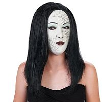 Adult Cracked Face & Black Hair Costume Mask