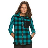 Petite Chaps Buffalo Check Fleece Vest