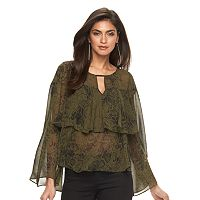 Women's Jennifer Lopez Ruffle Chiffon Top