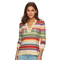 Petite Chaps Lace-Up Textured Sweater